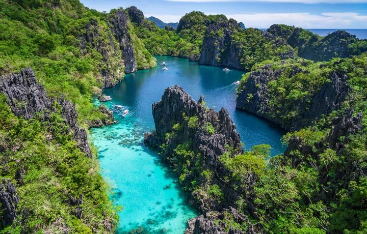 El Nido, Palawan, Philippines, aerial view of beautiful lagoon in the Bacuit archipelago.