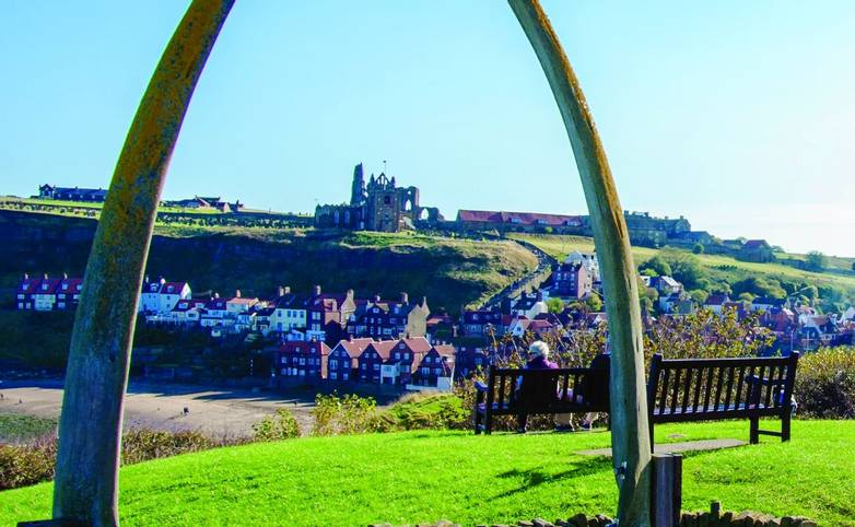 View of The whale bones, Whitby town symbol with abbey in background