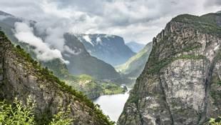 Norway, Hordaland, Eidfjord, View of Simadalsfjord