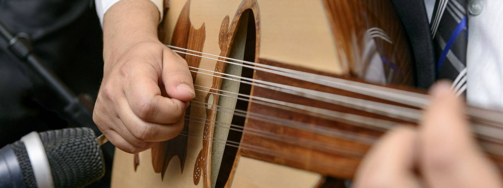 Musician Playing Note on Lute