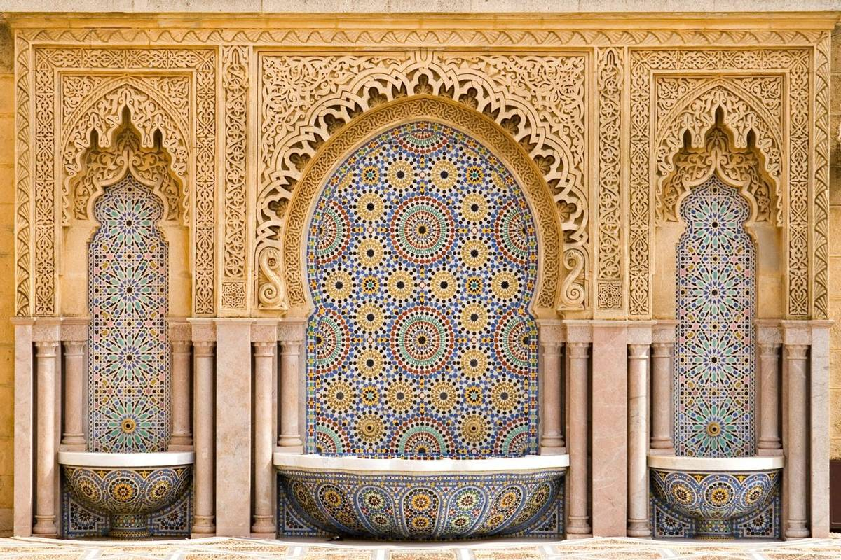 Typical moroccan tiled fountain in the city of Rabat, near the Hassan II Tower