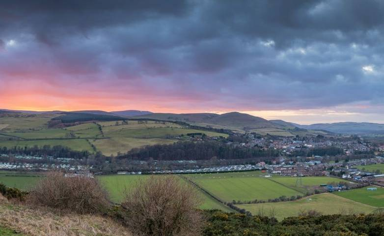 Sunset Panorama over the Cheviots and Glendale