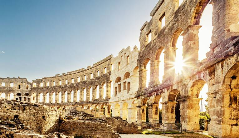 Roman Amphitheater in Pula Croatia. Built during 1st century AD, the amphitheater is the sixth largest in the world and has …
