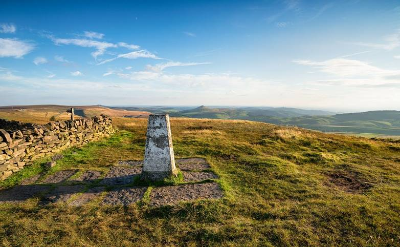 The Trig Point on top of Shining Tor in the Cheshire Peak District