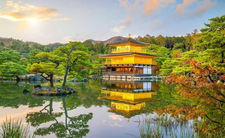 Kinkakuji Temple in Kyoto, Japan in Autumn