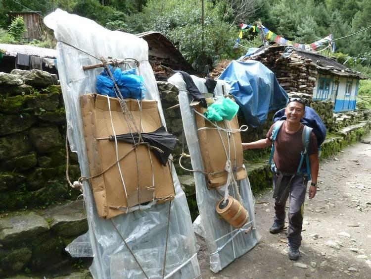 Porter loads on Everest trail in Nepal