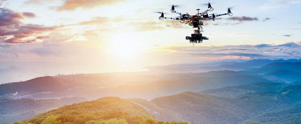 Drone taking landscape photographs