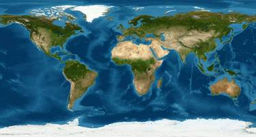 Detailed World physical map on global satellite photo
