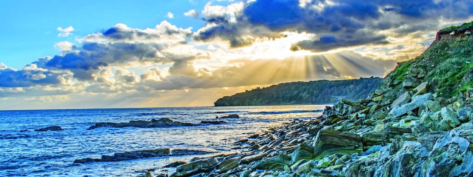 Sunburst Sky at the Jurasic Dorset Coastline
