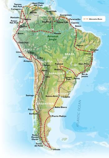 QUITO to QUITO inc. GUIANAS (31 weeks) Trans South America