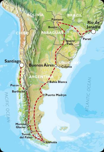 RIO to SANTIAGO (51 days) Coast to Coast via Patagonia