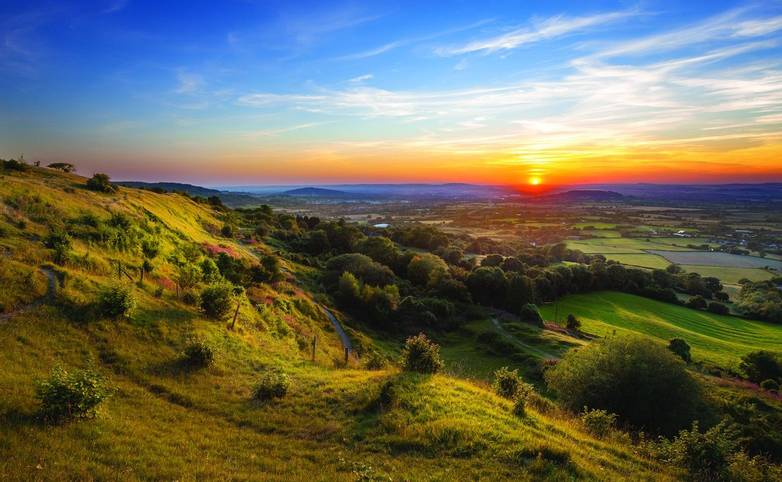 Crickley Hill at Sunset, Cotswold UK