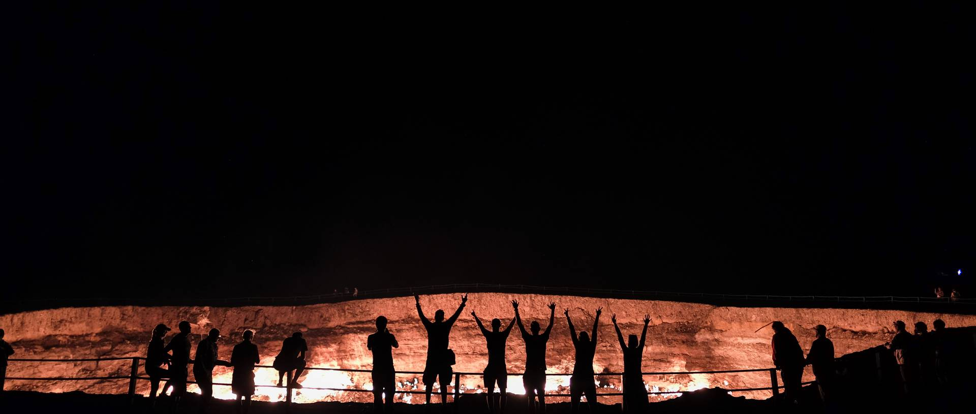 Darvaza Gas Crater At Night With Oasis Group