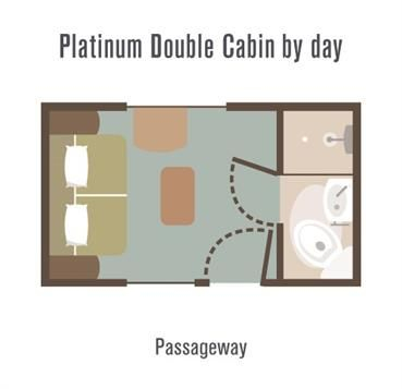 Great Southern Rail - Platinum Cabin layout by day