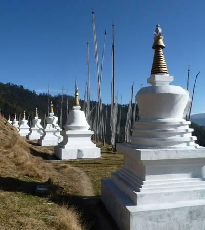 Chortens at Tharpaling monastery