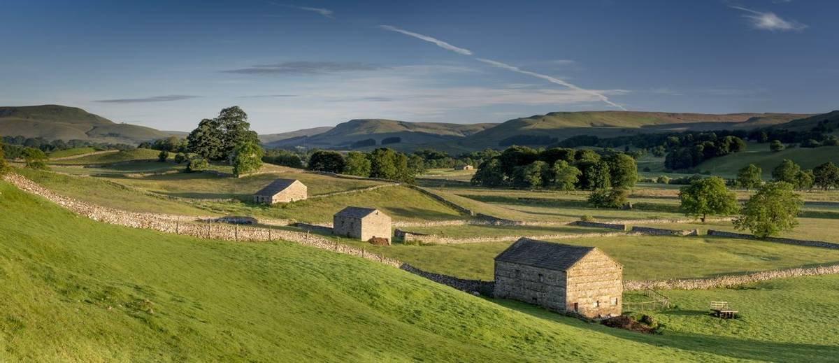 Barns at sunrise near Hawes, North Yorkshire.
