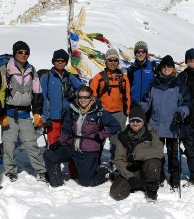 TMC Group on summit of Larkya La pass at 5,213m
