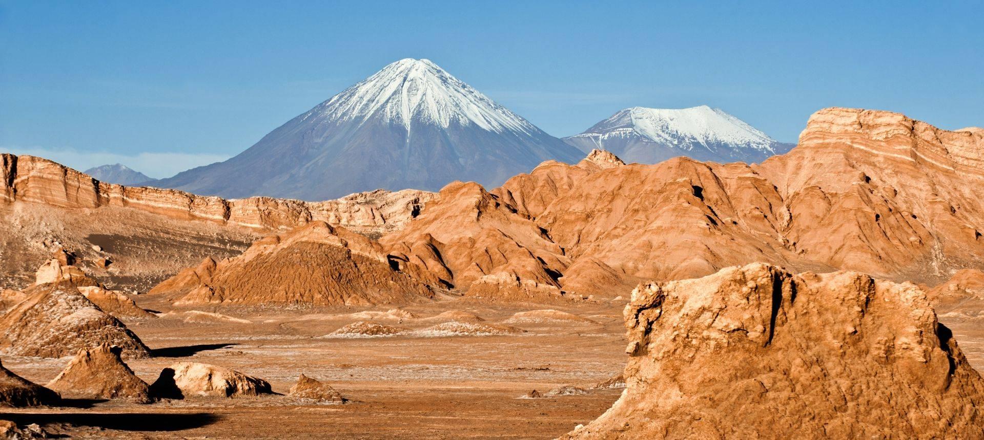 Volcanoes Licancabur And Juriques, Moon Valley, Atacama, Chile Shutterstock 109035803