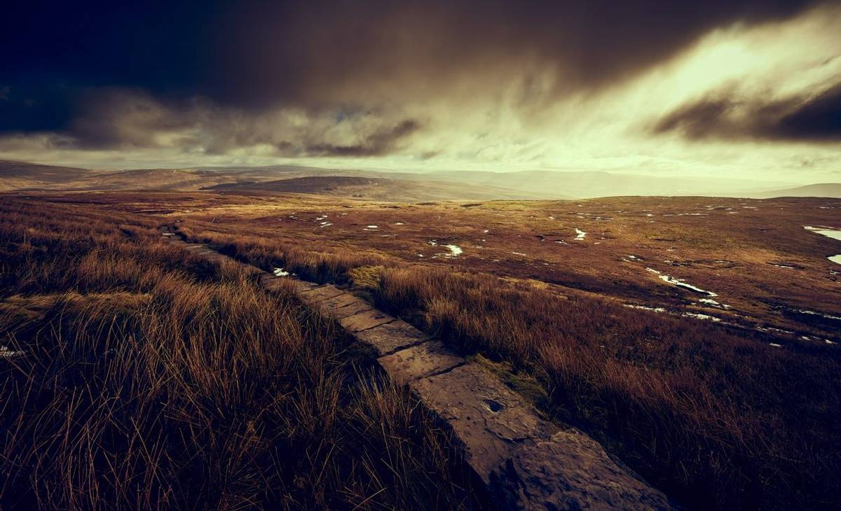 The stone path winding it's way through Blea Moor to the summit of Whernside in the Yorkshire Dales.