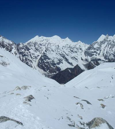 View from Larkya La at 5,213m