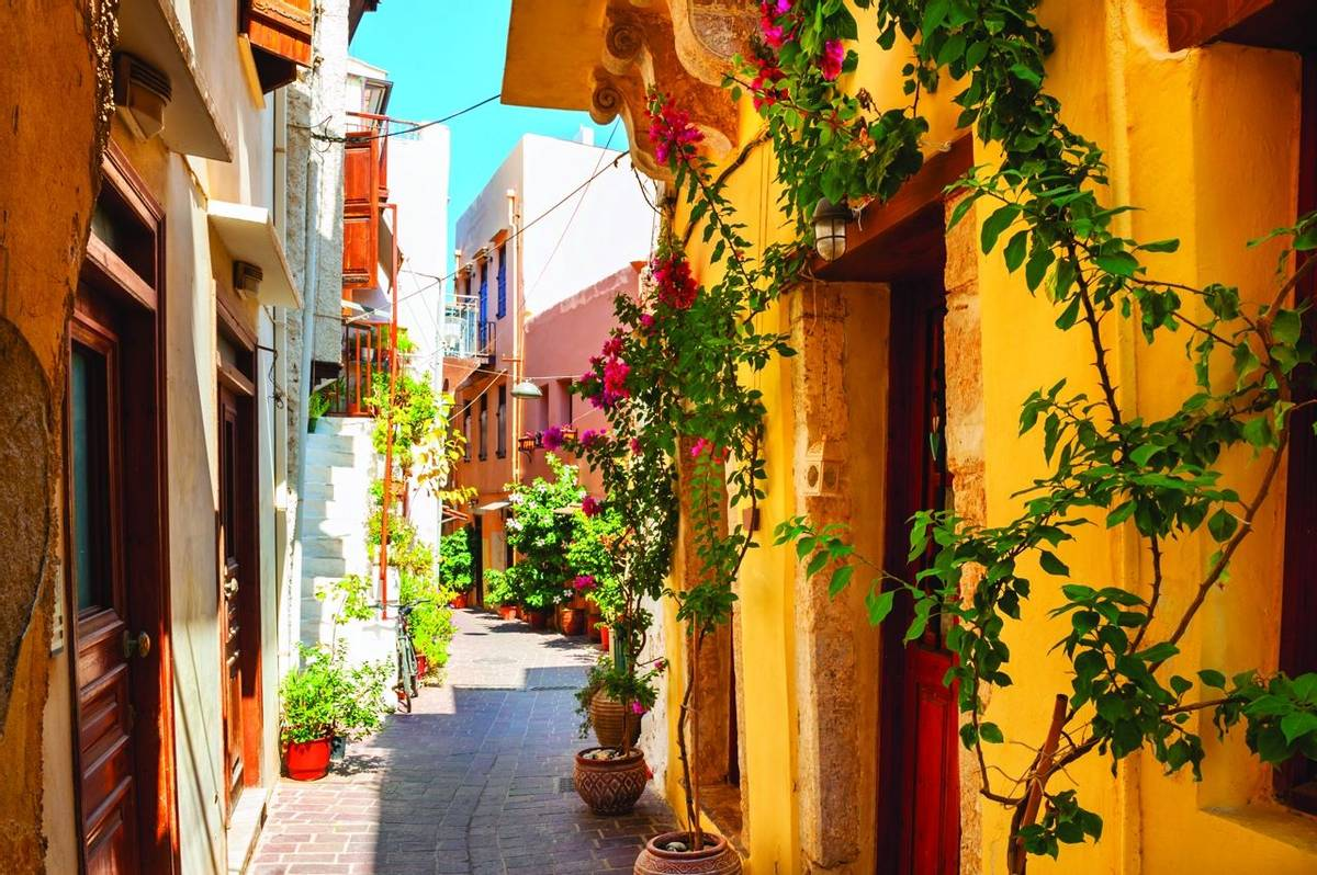 Beautiful street in Chania, Crete island, Greece.