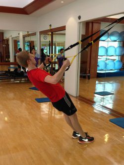 Adam TRX training in the fintess centre at Chiva Som