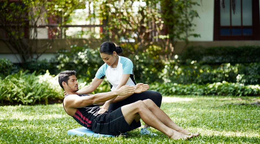 Core Strength Exercise in Garden
