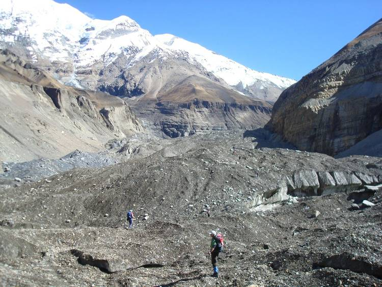 Dhaulagiri glacier near Glacier Camp on Dhaulagiri Circuit trek in Nepal