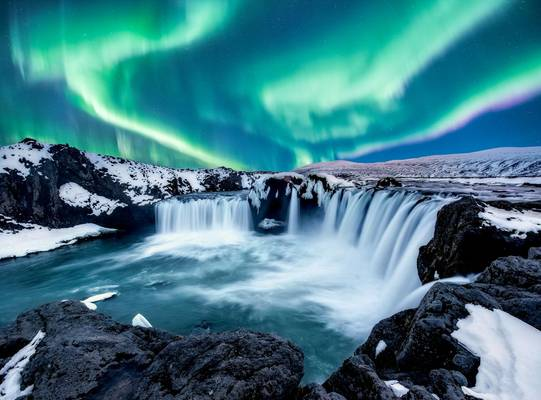 Godafoss, Northern Lights, Iceland Shutterstock 1067944250