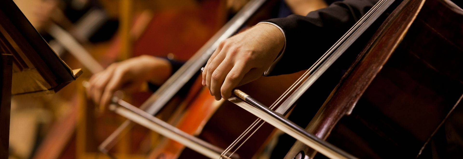 Hands of the man playing the cello in dark colors