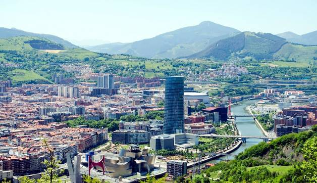 Skyline of Bilbao, the biggest city in northern Spain, and one of the biggest cities in the whole of Spain.