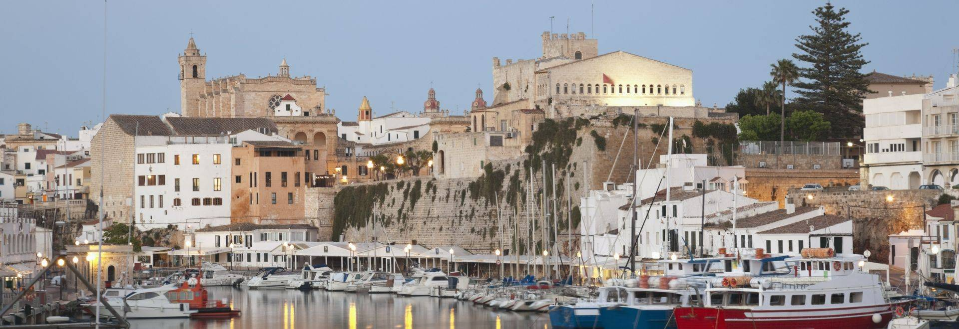 Spain, Menorca, View of Ciutadella with town hall and cathedral
