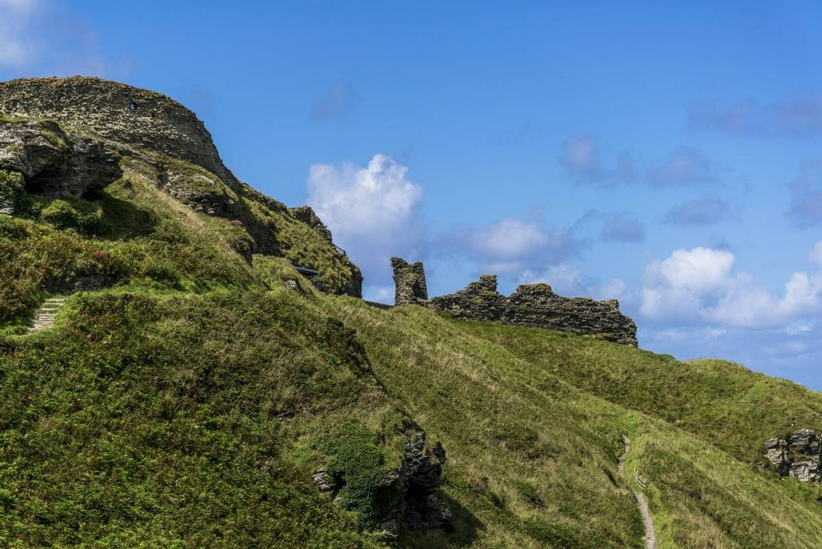 Ruins of ancient Tintagel Castle, Tintagel, a village on the north coast of Cornwall, England, UK