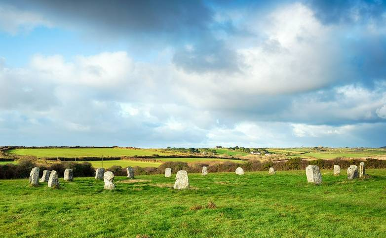 The Merry Maidens Stone Circle near Land's End in Cornwall