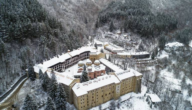 GettyImages-1154390146 Aerial view of Church of the Nativity of the Virgin Mother at Rila Monastery, UNESCO World Heritage S…