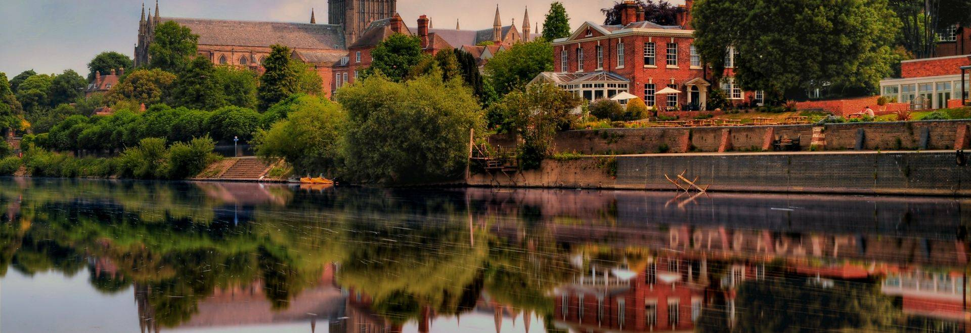 This is a shot of Worcester Cathedral on the banks of the river Severn.