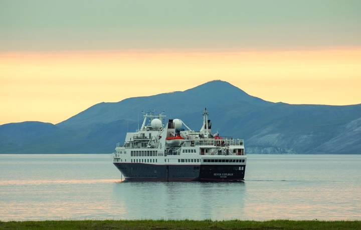 Silver Explorer heading to the open sea in Proliv Senyavina, Russia.