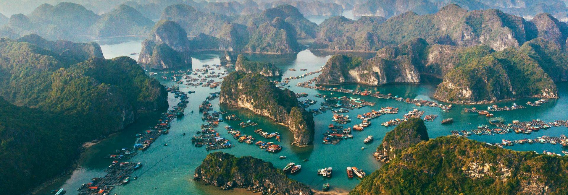 Scenic aerial view of Halong Bay in Vietnam  at sunset