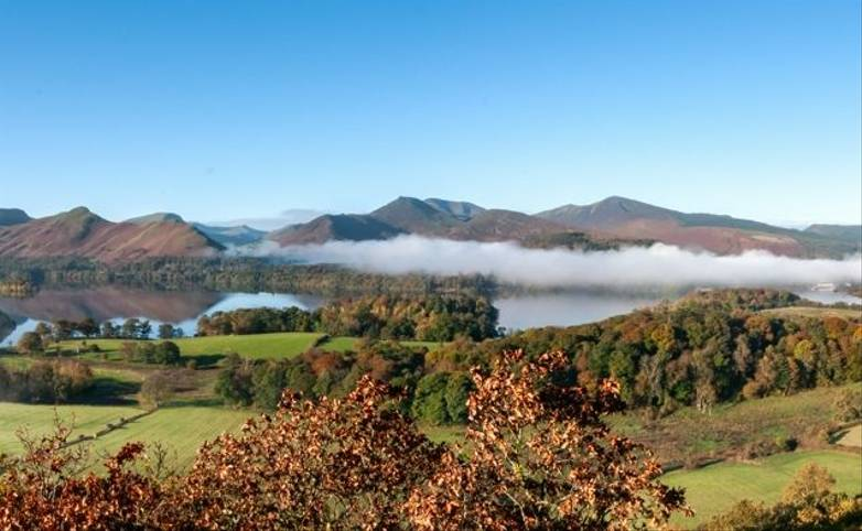 Panorama of Derwent Water, Lake District in Autumn colours with cloud inversion