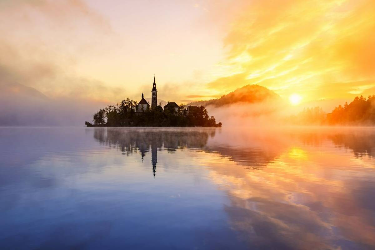 Amazing sunrise at the lake Bled in autumn, Slovenia, Europe