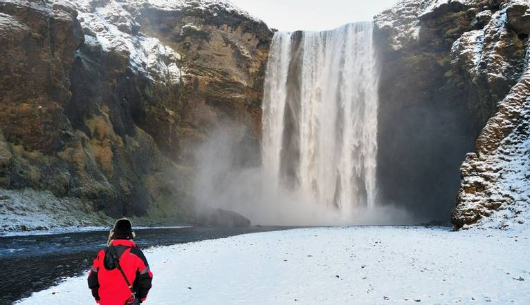 Skógafoss is a waterfall situated in the south of Iceland at the cliffs of the former coastline.