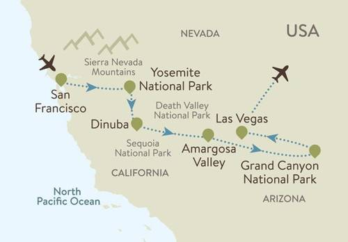 Yosemite and Grand Canyon Itinerary Map