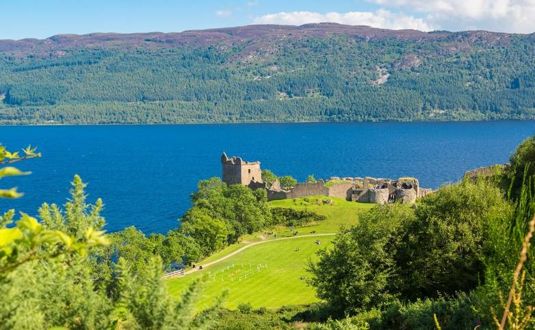 Urquhart Castle along Loch Ness lake