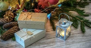 Christmas presents underneath the tree.