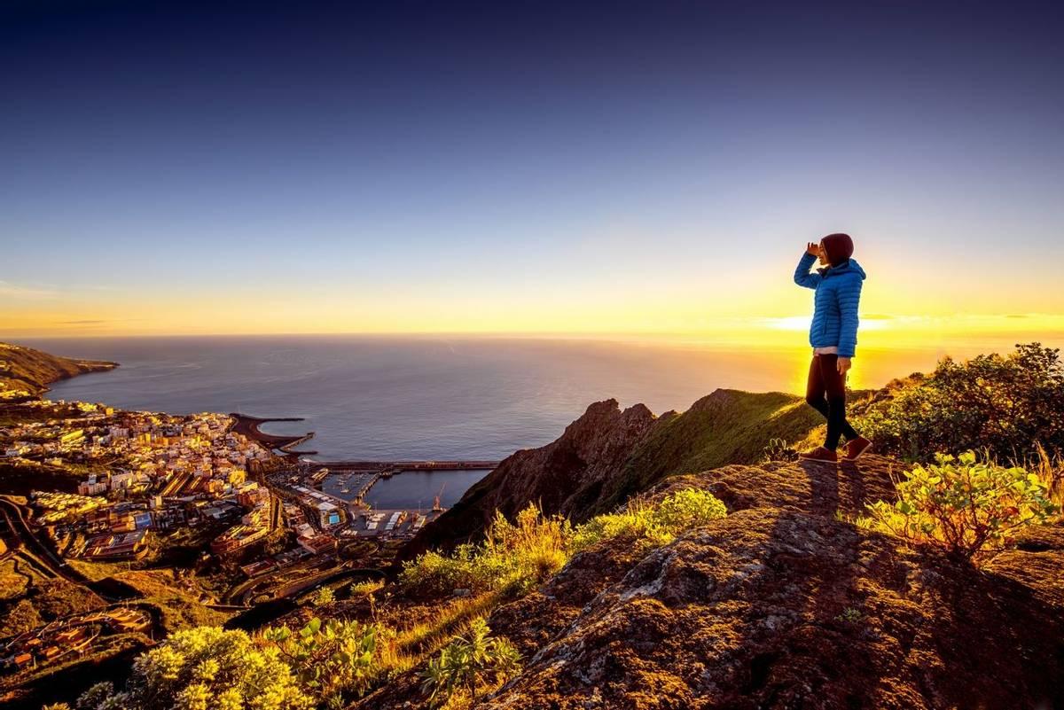 Woman enjoying landscape view near Santa Cruz city