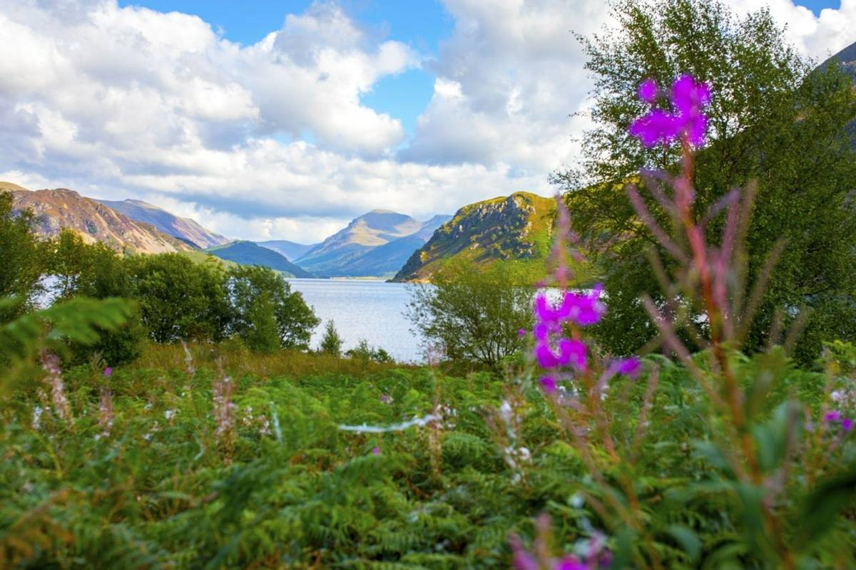 Sunlight on Ennerdale Water, Cumbria, the Lake District, England in the United Kingdom