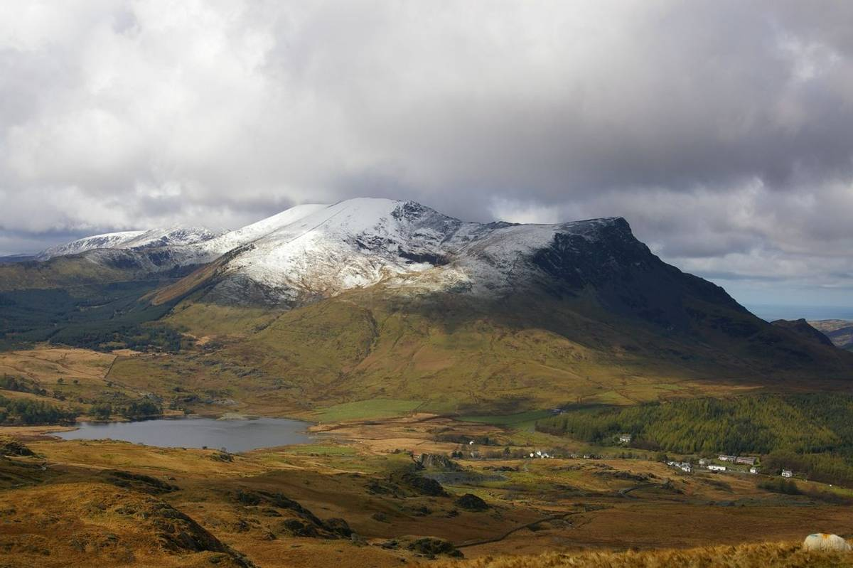 Mount Snowdon with snow on top