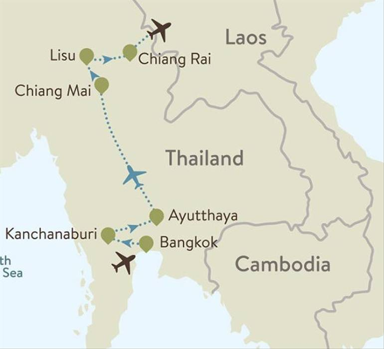 Thailand Itinerary Map