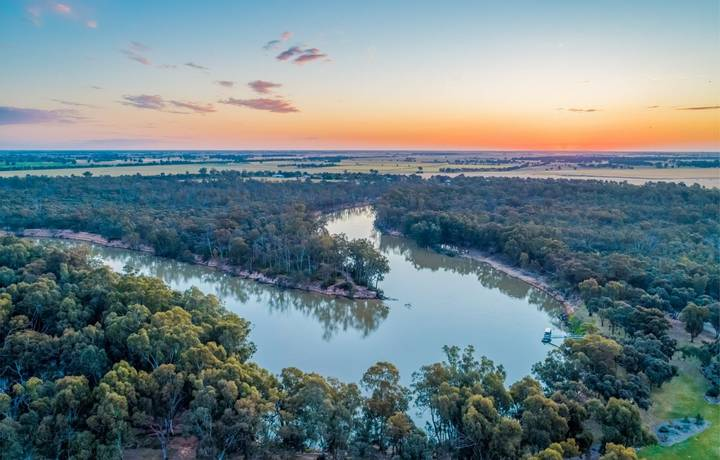 Murray River at sunset - aerial view