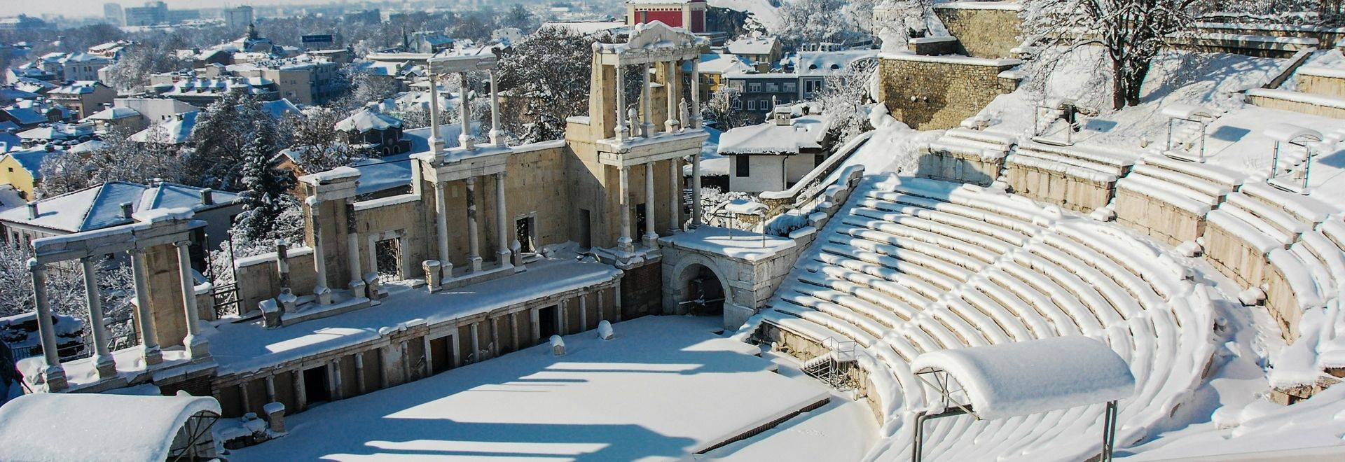 Ancient Roman theatre build 2nd century,  covered by snow, Plovdiv Bulgaria.